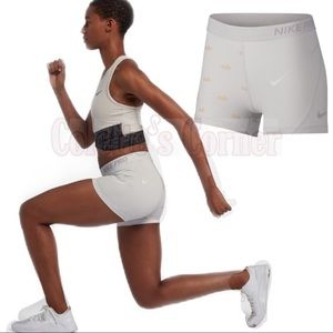 "Nike Pro White and Gold 3"" Training Shorts"